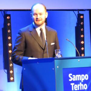 MEP Sampo Terho Finlandia-talon tapahtumassa 29.3.2014.